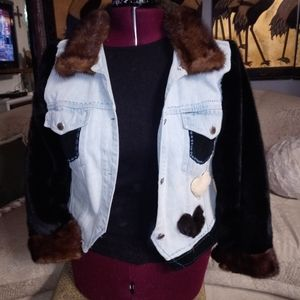 Blue jean jacket with real fur